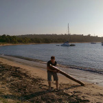 Jibbon Beach: Richard Drags a Log
