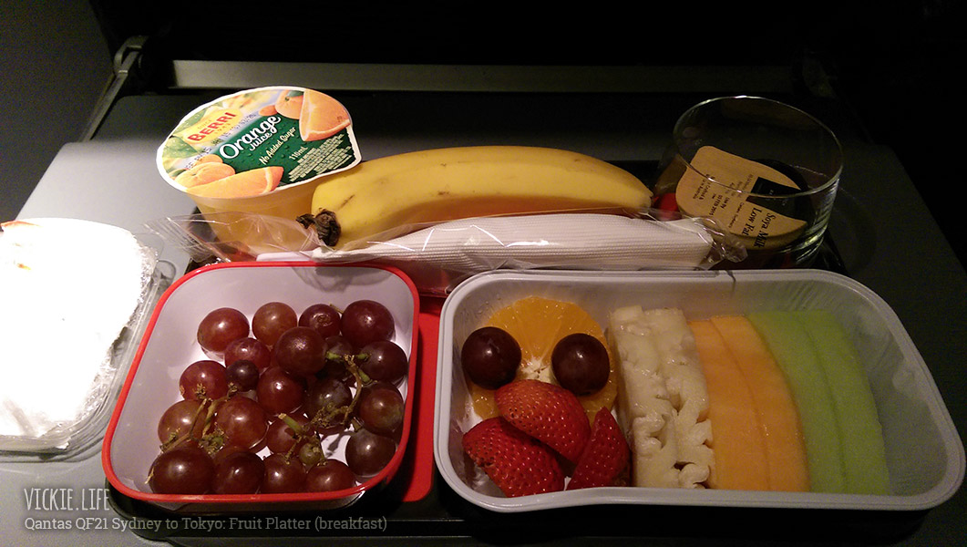 Qantas Fruit Platter Breakfast on QF21