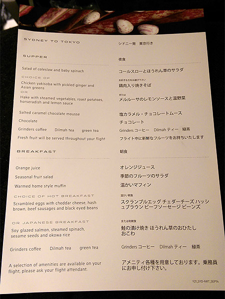 Qantas Normal Menu on QF21